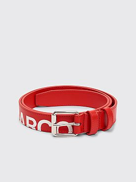 Comme des Garçons Wallet Huge Logo Leather Belt Red