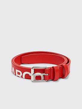 Comme des Garçons Wallet Huge Logo Leather Belt Red