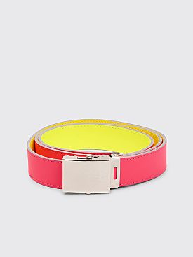 Comme des Garçons Wallet Super Fluo Leather Belt Pink / Yellow