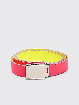 Comme des Garçons Wallet Super Fluo Leather Belt Pink / Yellow