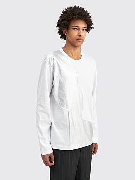 Comme des Garçons Homme Plus Silver Patchwork LS T-shirt White / Silver