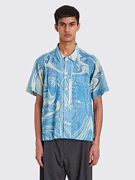 CLAMP 6 Pocket Short Sleeve Shirt Marble Blue