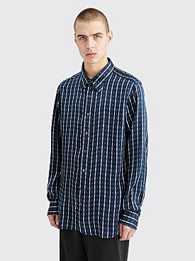 CLAMP Silk Shirt Striped Navy / White