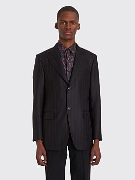 Cobra S.C. Peak Lapel Wool Jacket Black / Red Pinstripe