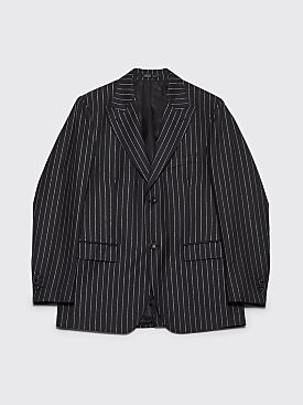 Cobra S.C. Peak Lapel Wool Jacket Metallic Pinstripe Black