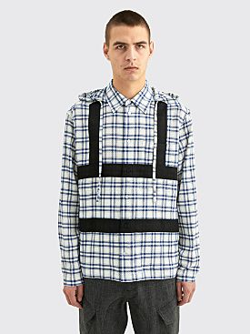 Craig Green Harness Hooded Shirt Navy Check