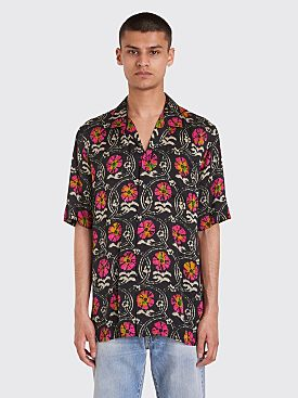 Dries Van Noten Carlton Tie Dye Floral Shirt Black / Fuchsia