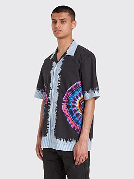 Dries Van Noten Carlton Printed Tie Dye Stripe Shirt Black / Fuchsia