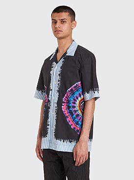Dries Van Noten Carlton Printed Tie Dye Stripe Shirt Black / Fuchsia