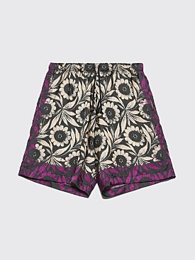 Dries Van Noten Piper Flower Shorts Ecru / Purple