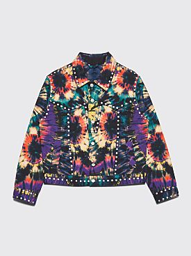 Dries Van Noten Vegas Denim Jacket Tie Dye Petrol