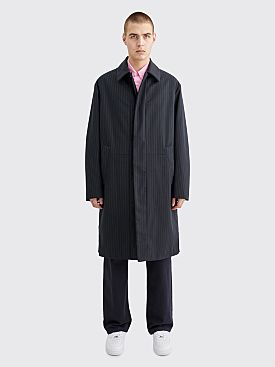 Dries Van Noten Rubar Wool Coat Stripe Navy