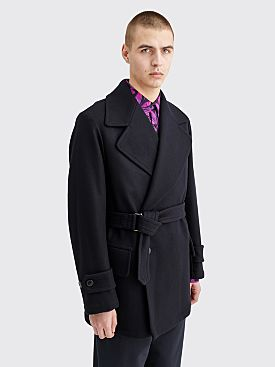 Dries Van Noten Vester Belted Wool Coat Dark Navy