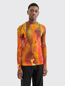 Dries Van Noten Hacks Jersey Top Dessin A Orange
