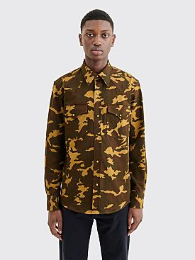 Dries Van Noten Curtain Shirt Kaki Camo