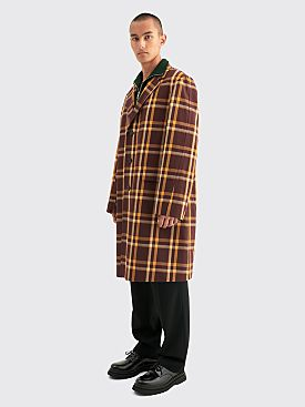 Dries Van Noten Rawly Coat Checkered Brown