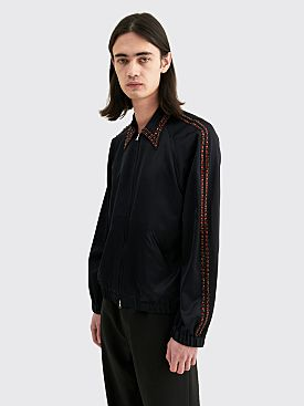 Dries Van Noten Campden Embroidery Zip Shirt Navy