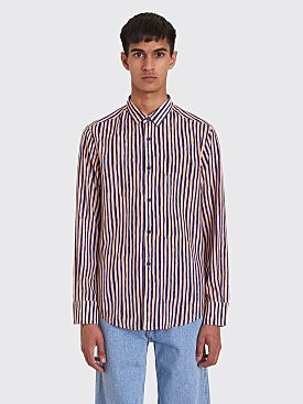Eckhaus Latta Striped Slim Shirt Beige / Purple