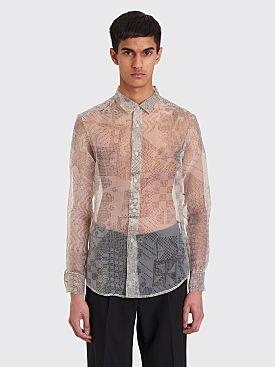 Eckhaus Latta Slim Button Down Shirt Graph Paper Organza Green