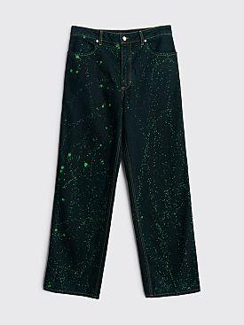 Eckhaus Latta Wide Leg Jeans Viridi Splatter