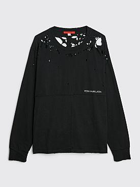 Eckhaus Latta Lapped LS T-shirt Destroyed Black