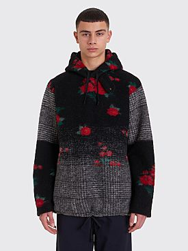 Engineered Garments Floral Glen Knit Hooded Sweater Grey