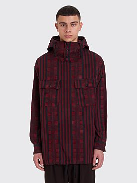 Engineered Garments Cagoule Shirt Stripe Jacquard Red / Black