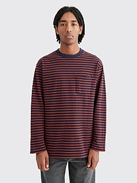 Engineered Garments LS Crewneck T-shirt Stripe Brown / Navy