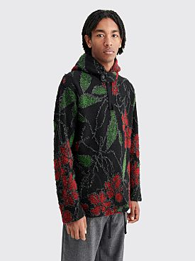 Engineered Garments Hooded Sweater Floral Knit Black