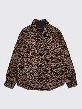 Engineered Garments Field Shirt Jacket Leopard Jacquard Brown