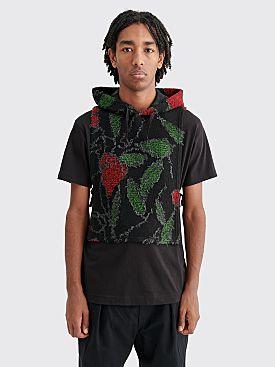Engineered Garments Hooded Interliner Floral Knit Black