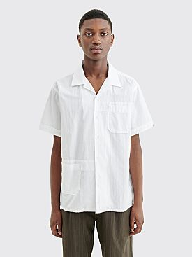 Engineered Garments Camp Shirt Dobby Stripe White