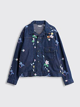 Engineered Garments Denim Trucker Jacket Floral Blue