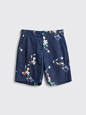 Engineered Garments Fatigue Denim Shorts Floral Blue