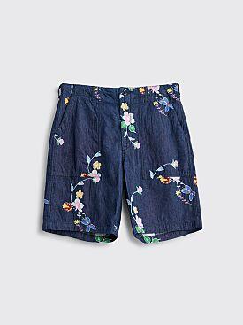 Engineered Garments Fatigue Denim Shorts Floral Blue