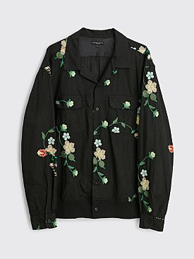 Engineered Garments Classic Shirt Black / Floral Embroidery