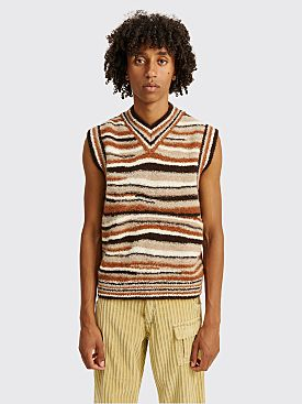 ERL Knitted Vest Stripe Brown