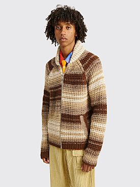 ERL Knitted Zip Sweater Stripe Brown