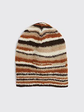 ERL Knit Beanie Stripe Brown