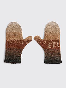 ERL Knit Logo Gloves Stripe Brown