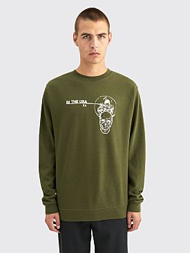 Fucking Awesome In The Usa Crewneck Sweater Army Green