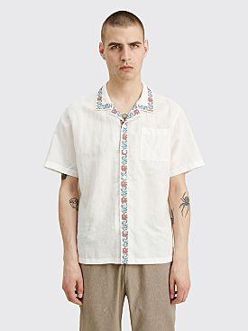 Fucking Awesome Tetris Flowers Linen Club Shirt White