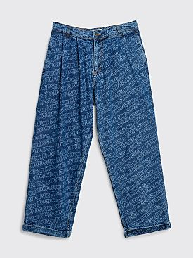 Fucking Awesome Baggy Denim Trousers Printed Logo Blue