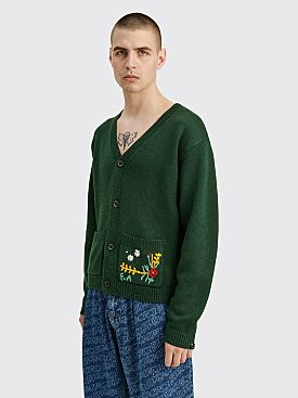 Fucking Awesome Flower Cardigan Forest Green