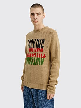 Fucking Awesome Intarsia Sweater Sand