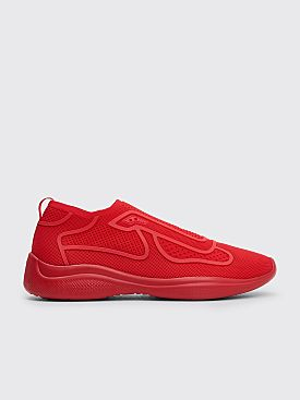 Prada Sport Knit Fabric Sneakers Red