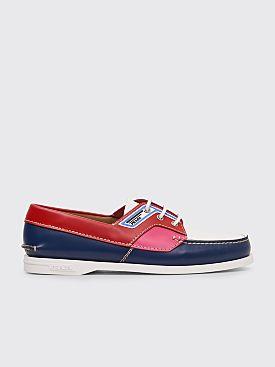 Prada Brushed Leather Boat Shoes Navy