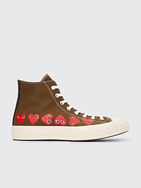 Comme des Garçons Play x Converse Chuck Taylor 70 Hi Multi Hearts Khaki