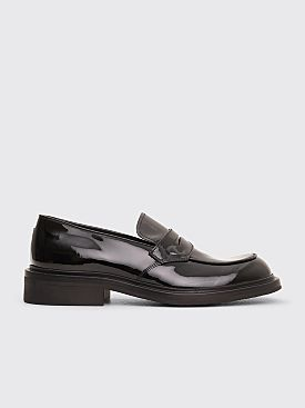 Prada Lacquered Leather Moccasin Shoes Black