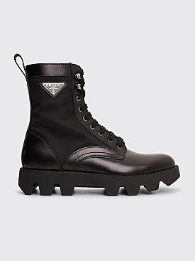 Prada Leather Ankle Boots Black